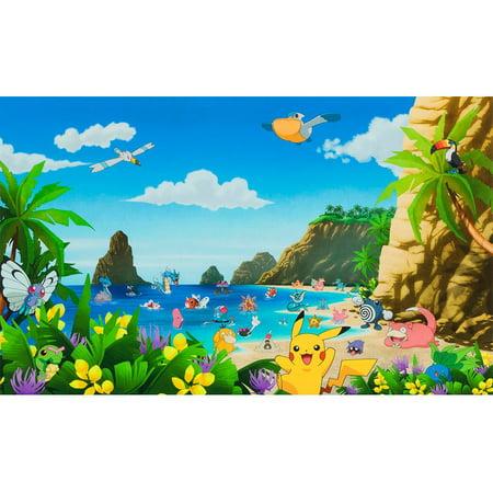 Robert Kaufman Pokemon Multi Pokemon Beach Sold by the yard.Premium 44 inch wide cotton fabric.Robert Kaufman Pokemon Multi Pokemon Beach