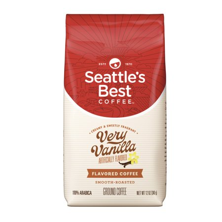 Roasted Ground Coffee Vanilla Bean (Seattle's Best Coffee Very Vanilla Flavored Medium Roast Ground Coffee, 12-Ounce)