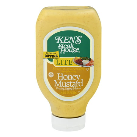 (2 Pack) Ken's Steak House: Honey Mustard Dressing Topping & Spread Lite, 24 Fl (Honey Mustard Dressing)