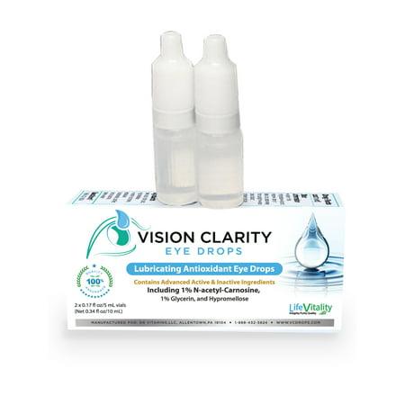 Vision Clarity Eye Drops with 1% Carnosine (NAC Drops), Lubricants, 2-5ml vials