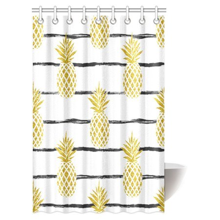 MYPOP Pineapple Decor Shower Curtain, Tropical Theme Vintage Stripe Style Pineapple Fruit Bathroom Shower Curtain 48 By 72 Inches ()