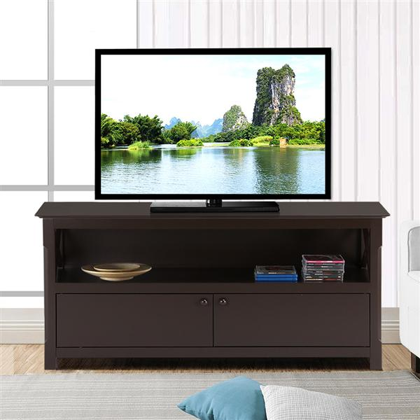 Yaheetech X-Shape TV Stand Unit Media Large Display Shelf w/2 Storage Doors Coffee