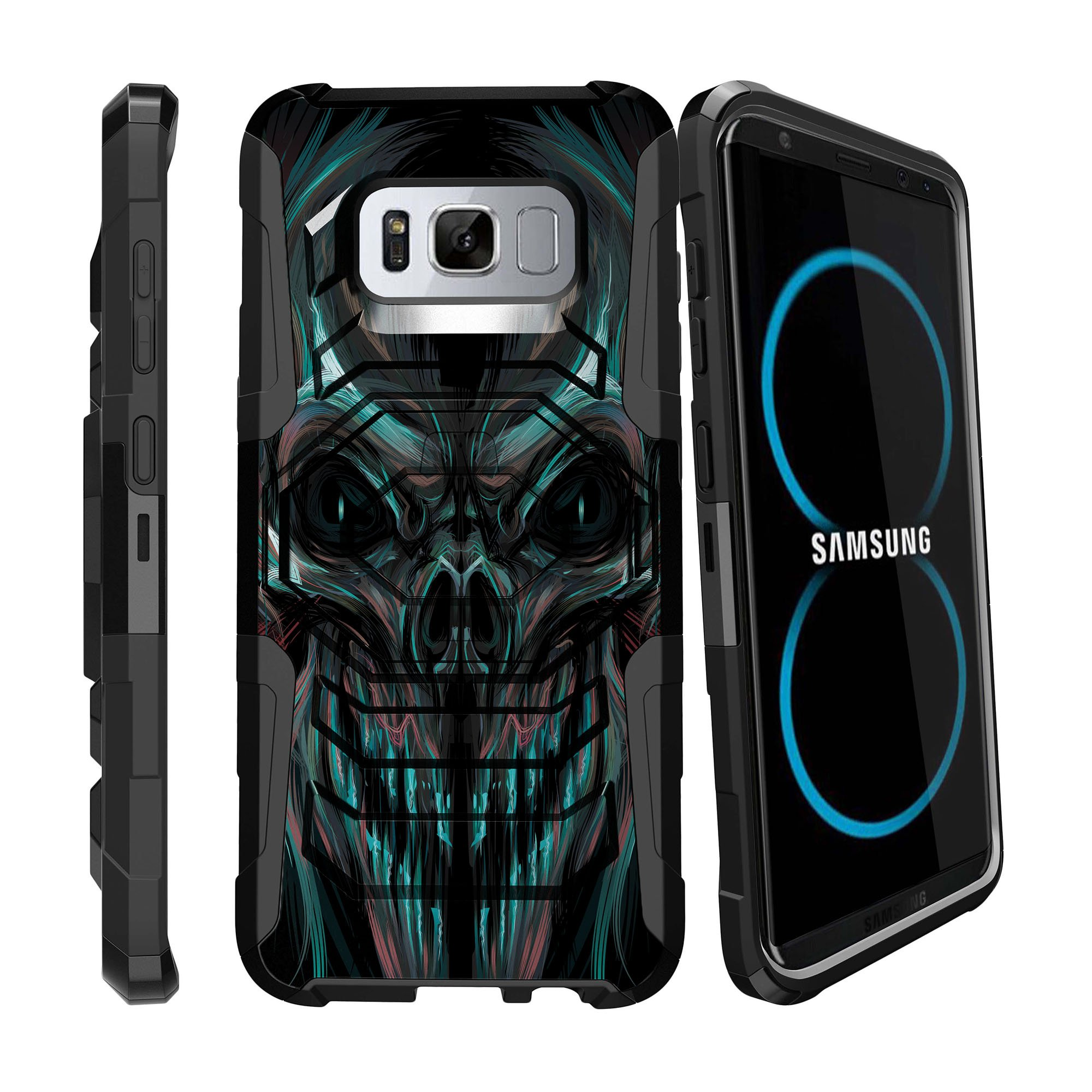 Case for Samsung Galaxy S8 | S8 Galaxy Hybrid Case [ Armor Reloaded ] Heavy Duty Case with Belt Clip & Kickstand Skull Collection