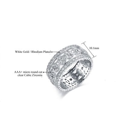 Womens Vintage Style Cubic Zirconia Wide Band Cocktail Ring 18k White Gold Plated