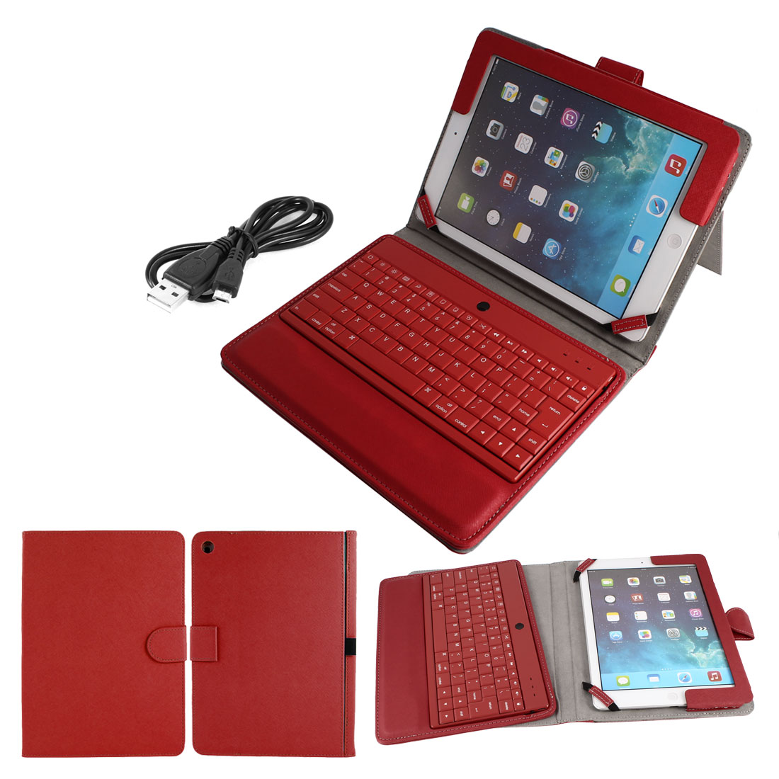 Unique Bargains Wireless bluetooth Keyboard PU Leather St...