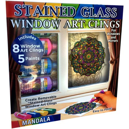 Venini Art Glass - Joy Of Coloring Stained Glass Window Art Clings Kit-Mandalas