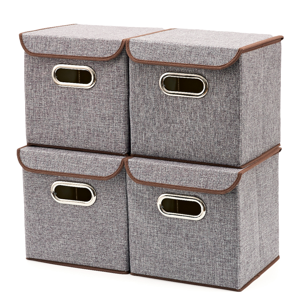 Storage Boxes, [4 Pack] EZOWare Linen Fabric Foldable Storage Cubes Bin Box