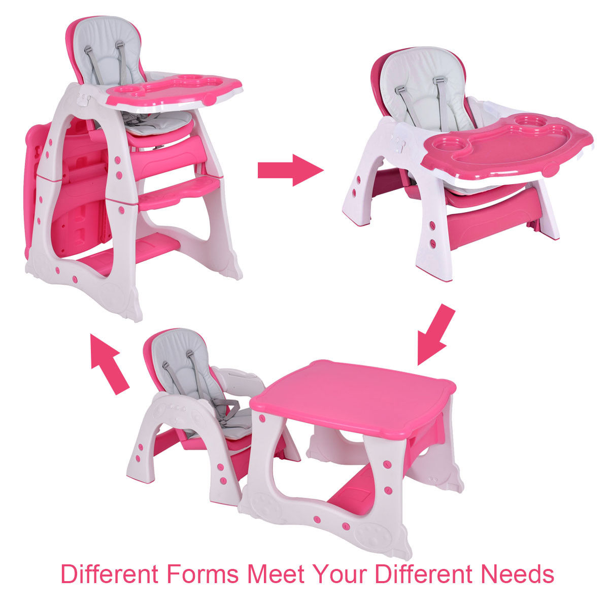 3 in 1 Baby High Chair Convertible Play Table Seat Booster Toddler Feeding Tray - image 5 de 10