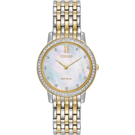 (Citizen Women's Silhouette Crystal 29mm Two Tone Steel Bracelet Steel Case Eco-Drive Watch EX1484-57D)
