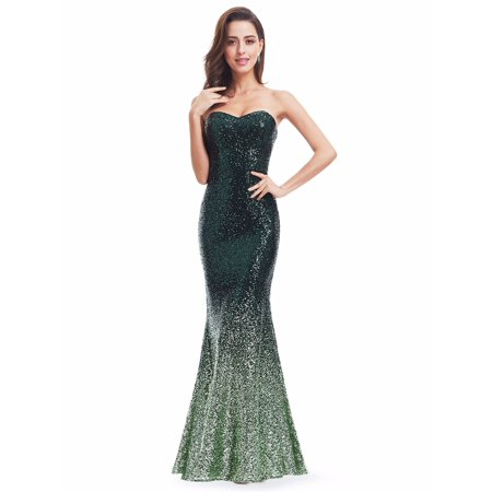 Ever Pretty Ever Pretty Womens Long Strapless Sequined Mermaid