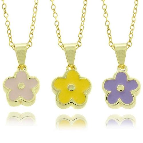 Molly and Emma 14k Gold Overlay Children's Enamel Flower Necklace Purple