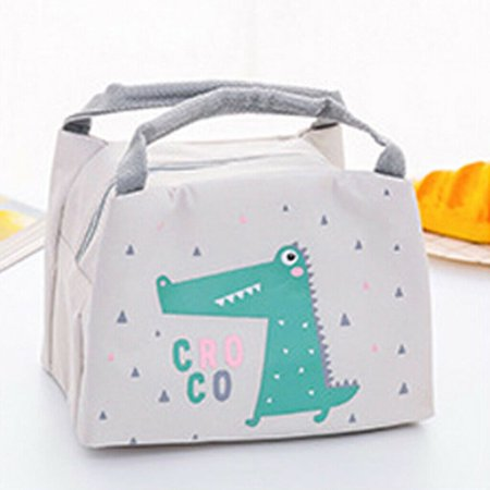 Children Kids Lunch Bag Insulated Cool Bag Portable Picnic Bag Lunchbox Croco