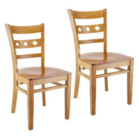 Diamond Side Chair in Cherry with Wood Seat (Set of 2)