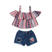 Kids Toddler Baby Girl 4th of July Outfits Halter Short Sleeve Shirts Crop Top Denim Shorts Pants Set American Flag Clothes Set 3-4 Years