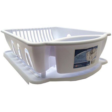 White sterilite two piece sink set dish rack drainer kitchen perimeter cup holder room flatware - Dish rack for small space collection ...