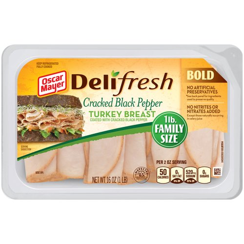 Oscar Mayer Deli Fresh Cracked Black Pepper Turkey Breast Lunch Meat, 16 oz