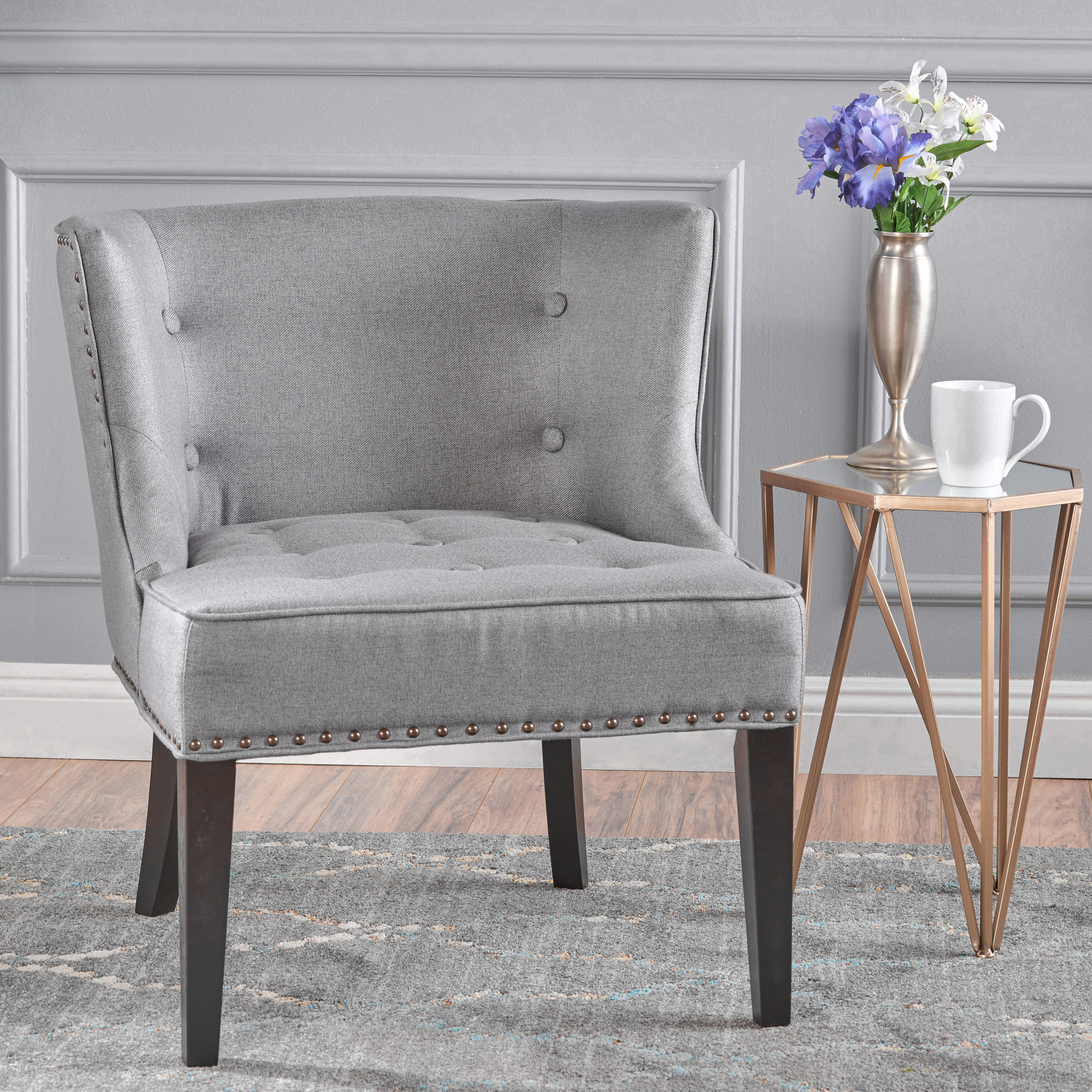 Noble House Angela Fabric Occassional Accent Chair, Grey