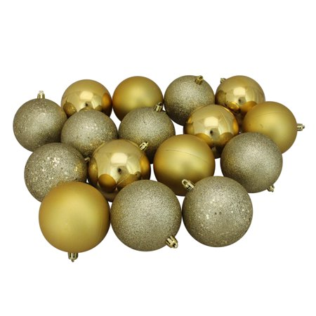 "16ct Vegas Gold Shatterproof 4-Finish Christmas Ball Ornaments 3"" (75mm)"