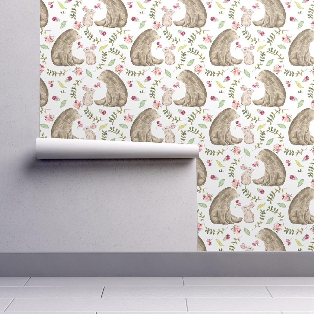Removable Water Activated Wallpaper Baby Girl Floral Woodland