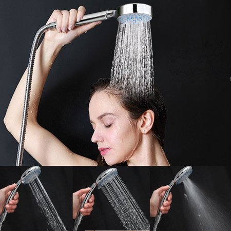 Universal 3 Mode Multi Function Chrome Bath Shower Hose Head Handset Fitting with Hose