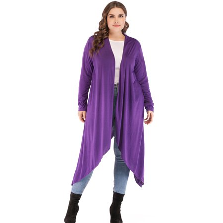 Plus Size Cardigan Lightweight Sweaters for Women Long Cardigan Duster Sweater Cover-up Black Purple Kimono Cardigan Thin