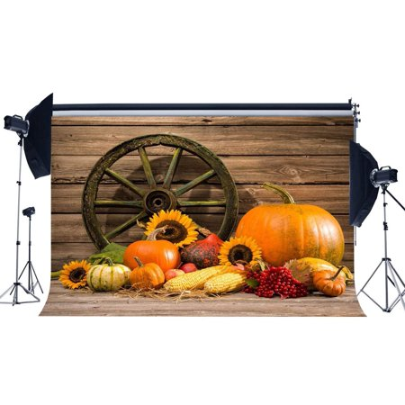 ABPHOTO Polyester 7x5ft Autumn Harvest Backdrop Vintage Old Wheel and Pumpkin Backdrops Sunflower Retro Stripes Wood Floor Photography Background for Kids Adults Thanksgiving Day Photo Studio Props