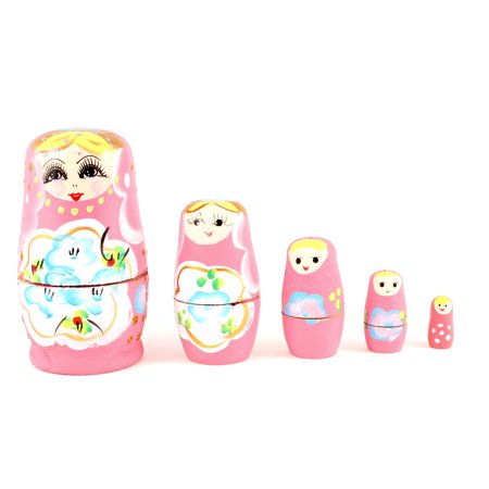 5 in 1 Separates Smiling  Pink Wooden Russian Dolls Sets for - image 1 de 1