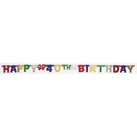Creative Converting Party Decoration Jointed Banner, Happy 40th Birthday, 6-Feet
