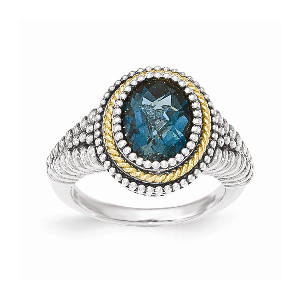 Sterling Silver With 14k London Blue Topaz Ring Ring Size: 6 to 8 by Jewelryweb