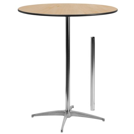 Flash Furniture 36'' Round Wood Cocktail Table with 30'' and 42'' Columns ()