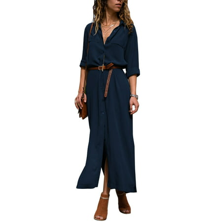 Women Casual Long Shirt Dress Button Down Long Sleeves Long Polka Dot Maxi Dresses with Decorative Pockets Lapel Collar Outerwear Long Skirts Dress for Womens