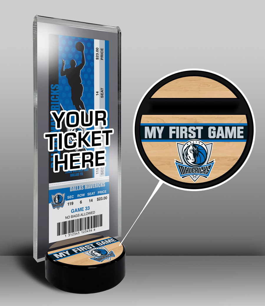Dallas Mavericks My First Game Ticket Display Stand by