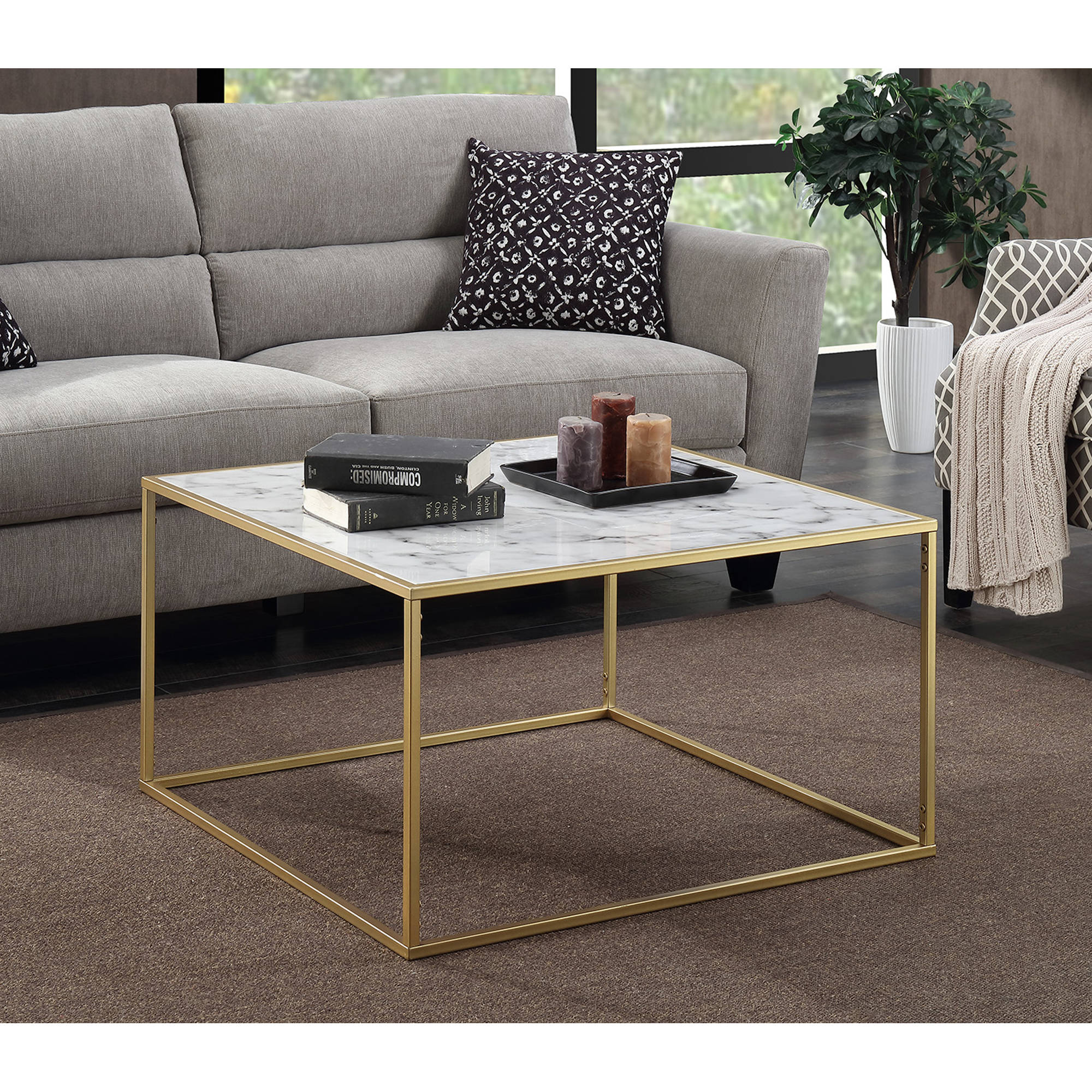 convenience concepts gold coast faux marble coffee table - walmart