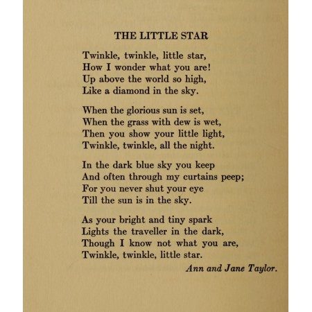 Ann   Jane Taylor Stretched Canvas Art   Little Folks Book Of Verse 1911 Twinkle  Twinkle   Medium 18 X 24 Inch Wall Art Decor Size