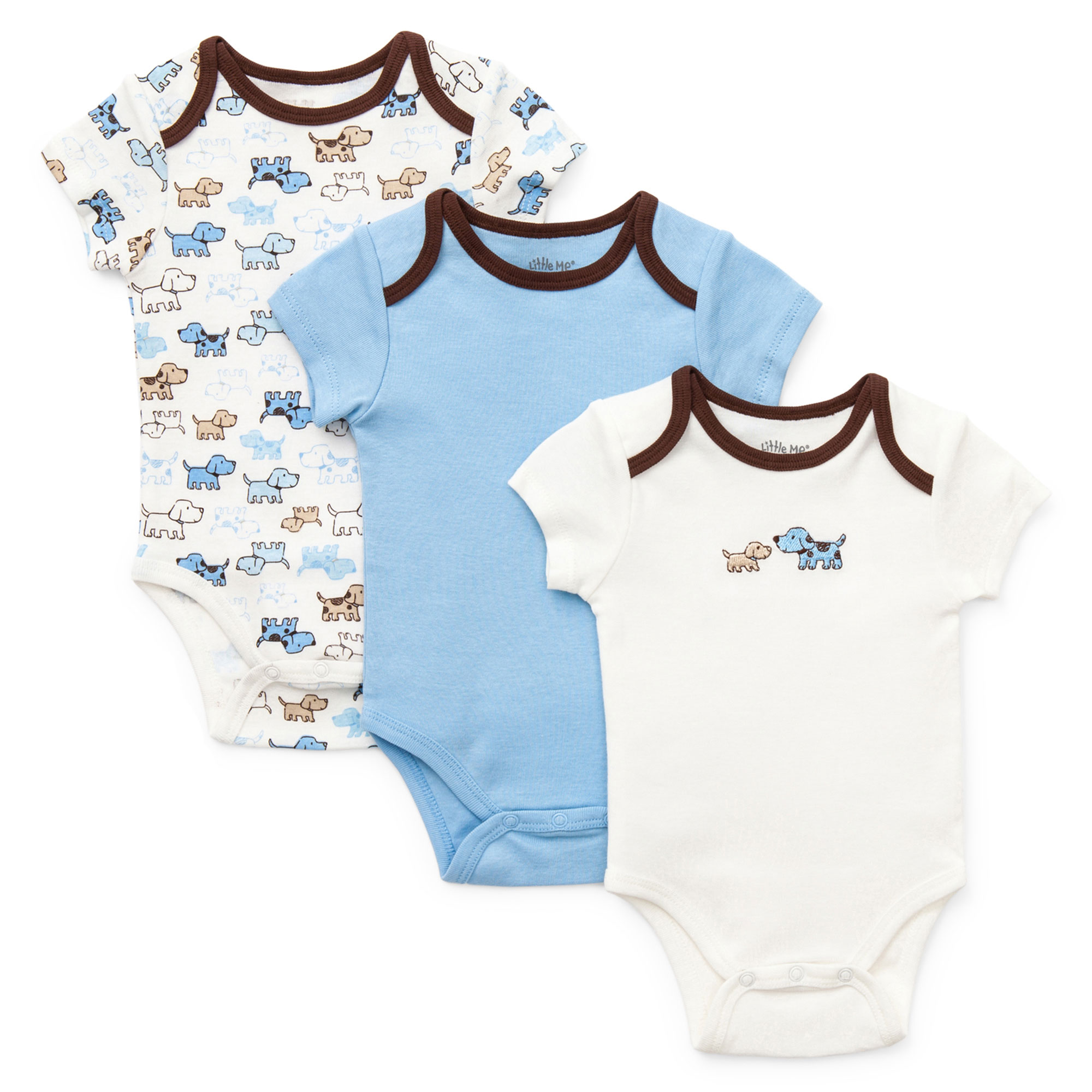 Little Me Baby Cute Puoppies Puppy Dog Print and Solid 3 Pack of Short Sleeve Baby Bodysuit Creepers For Boys - Blue, White, and Brown- 6 Months