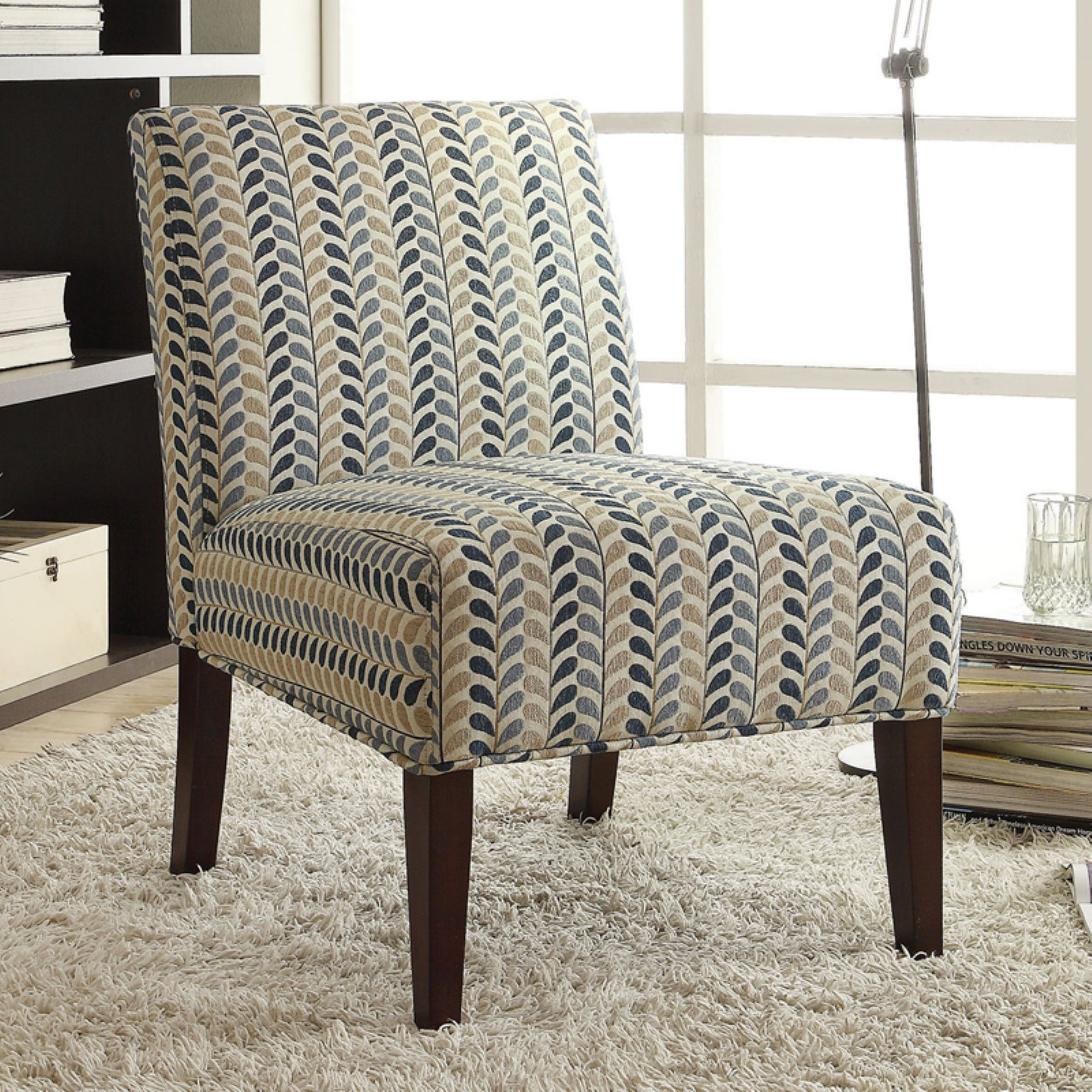 Coaster Company Accent Chair, Blue Beige, Woven Fabric, Cappuccino