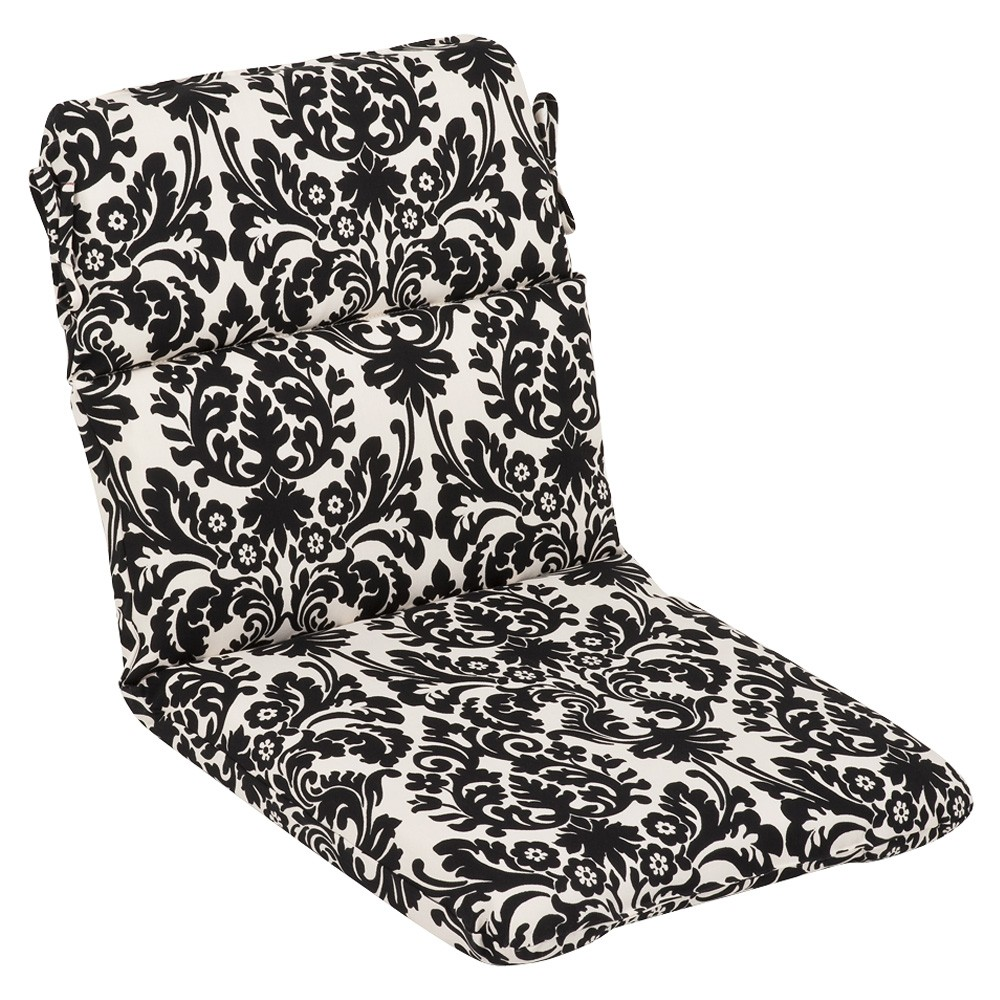 "40.5"" Dramatic Black and Cream Damask Outdoor Patio Furniture Back Chair Cushion"