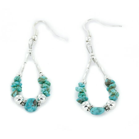 90 Retail Tag Authentic Made by Charlene Little .925 Sterling Silver Hooks Dangle Natural Turquoise Hoop Native American Earrings