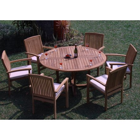 Teak Dining Set:6 Seater 7 Pc - 60