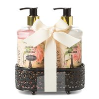 Charming Charlie Luxury Hand Soap and Lotion Set w/ Display Basket - Body Care Essentials, At-Home Spa Collection - Winter Snow, Pack of 3