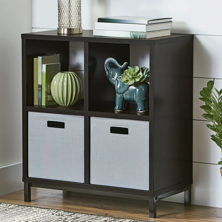 (Set of 2) Better Homes and Gardens Square 4-Cube Storage Organizer with Metal Base, Multiple Finishes Marbleized Finish Metal