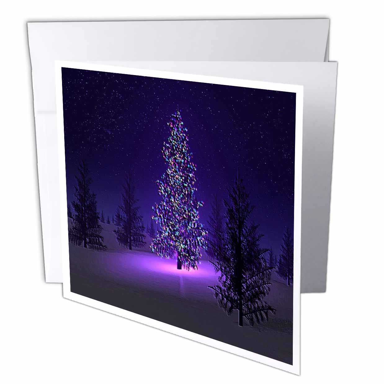 3dRose Lets Have A Purple Christmas, Greeting Cards, 6 x 6 inches, set of 12