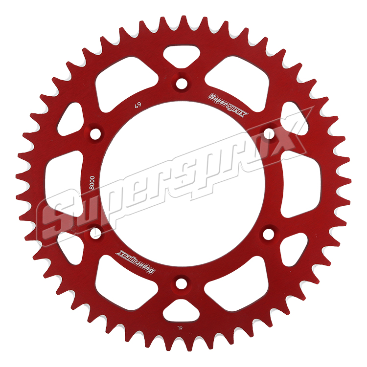 New Supersprox Red Aluminum Sprocket, 49T, Chain Size 520, Ral-8000-49-Red