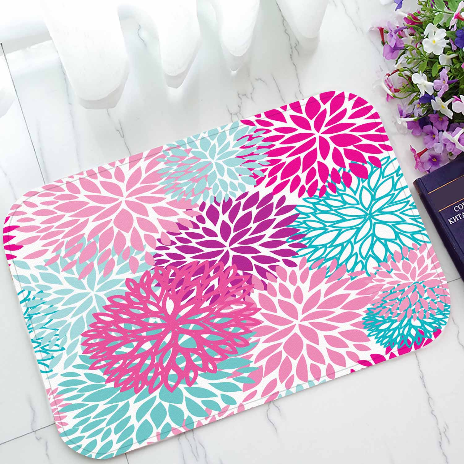 Picture of: Pkqwtm Bright Floral Pattern Home Decor Floor Mat Area Rug Doormat Size 15 7×23 6 Inches Walmart Com Walmart Com