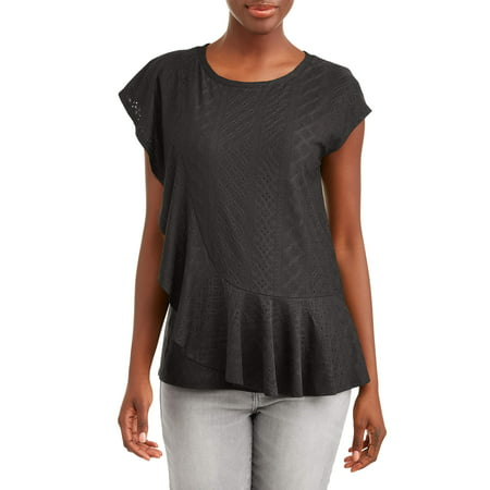 - Women's Short Sleeve Ruffle Sleeve Top