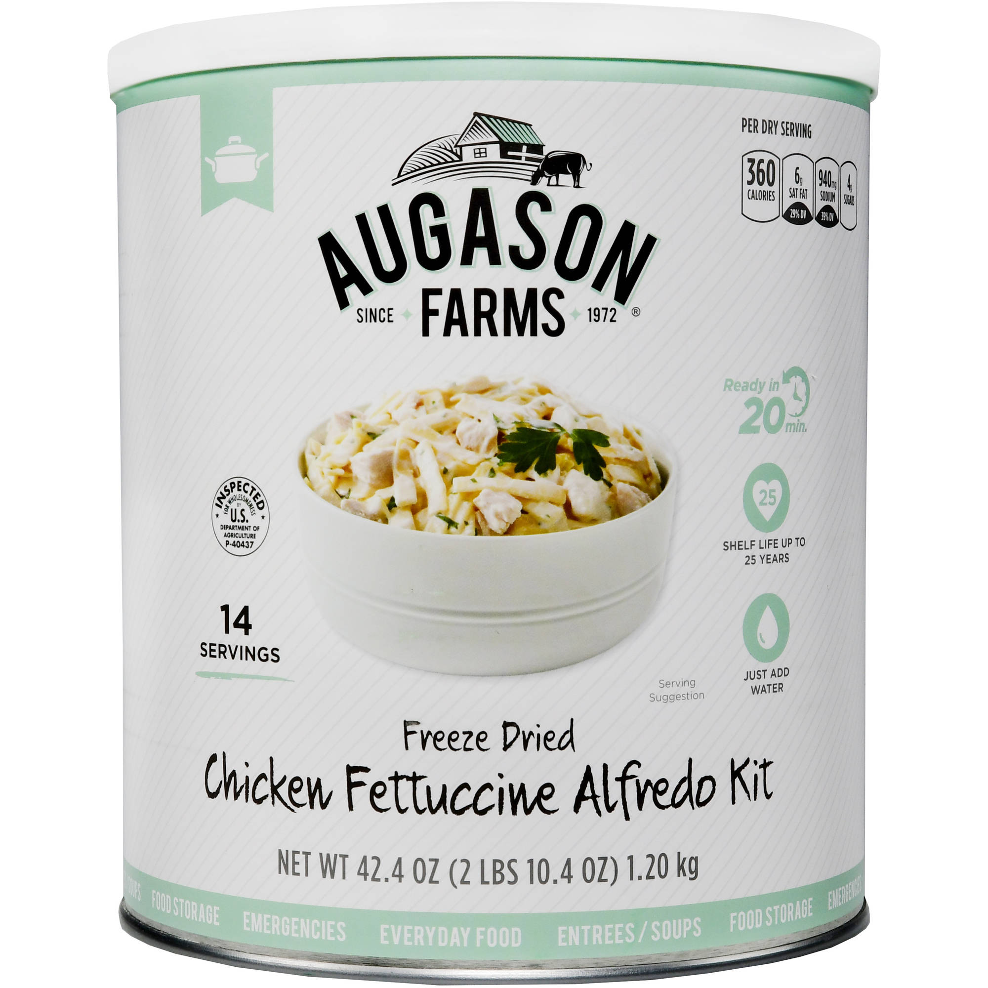 Augason Farms Emergency Food Freeze Dried Chicken Fettuccine Alfredo Meal Kit, 42.4 oz by Generic