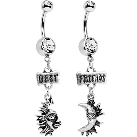Body Candy Stainless Steel Clear Accent Best Friends Moon and Sun Dangle Belly Ring