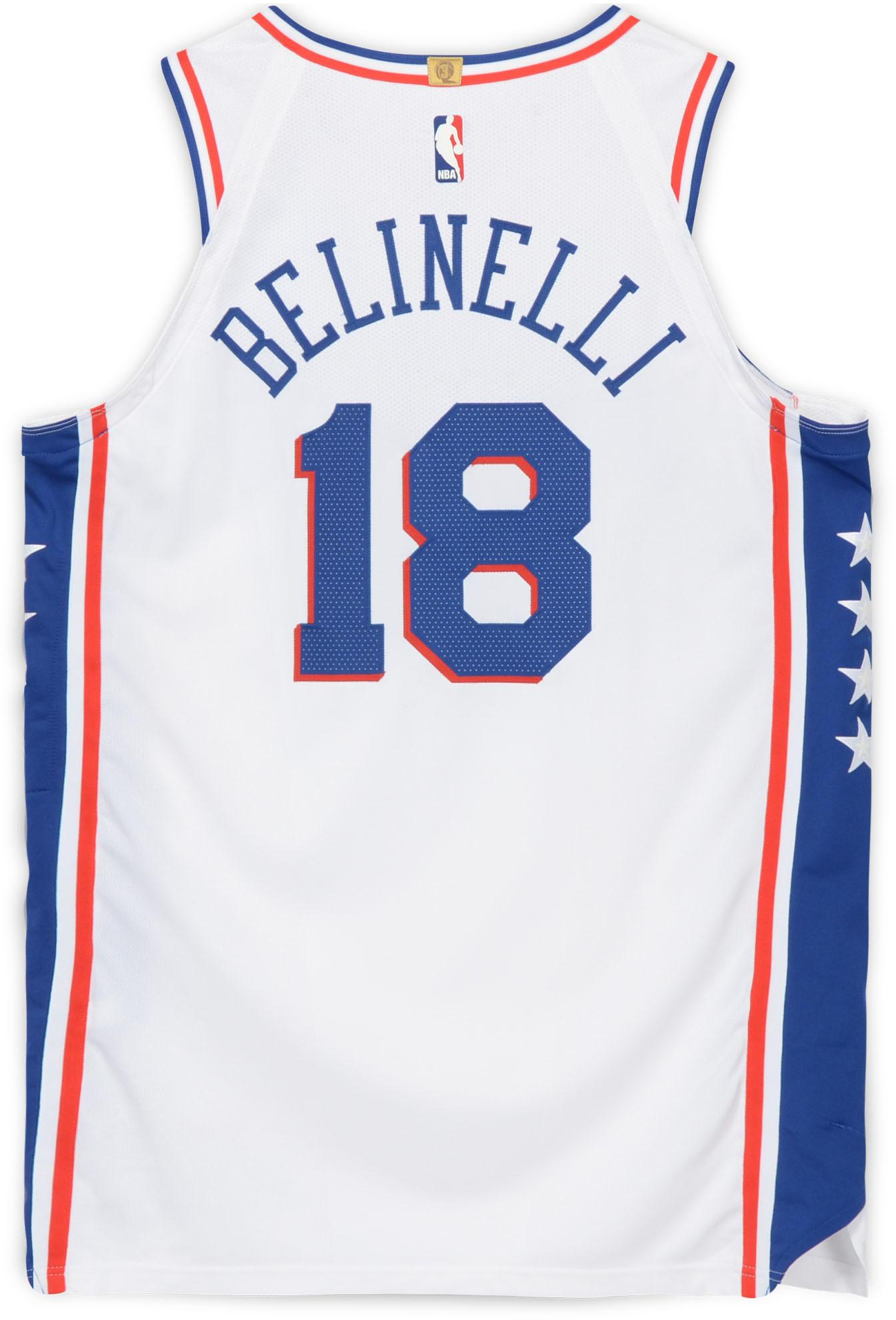 new style 5313e 71b57 Marco Belinelli Philadelphia 76ers Player-Issued #18 White Jersey from the  2018 NBA Playoffs - Size 50+4 - Fanatics Authentic Certified