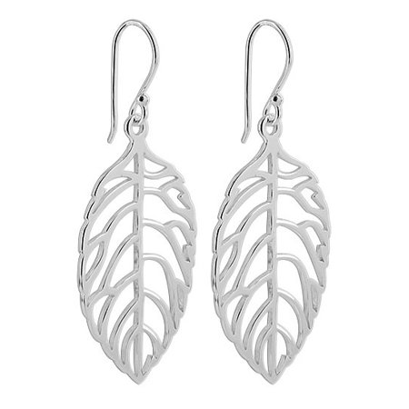 Gemstone Leaf Design (Gem Avenue 925 Sterling Silver Leaf French ear wire Dangle Earrings)