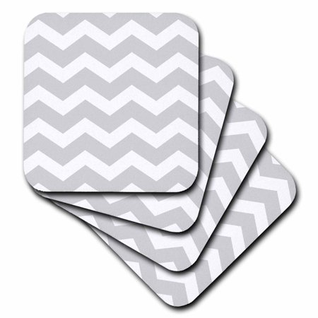 3dRose Light Grey and white zig zag Chevron pattern. Gray silver zigzags, Soft Coasters, set of 4
